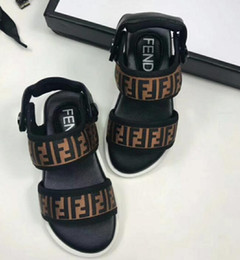 Leather baby shoes pattern online shopping - F Style Sandals Kids F Letter Printed Shoes Summer Letter Flats Sandals Baby Slipper Elastic Slip Resistant Shoes GGA1936
