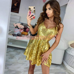 9833ce39c68 Bling Gold Sequins Arabic Short Homecoming Dresses Straps Sleeveless Saudi  Knee Length Short Prom Dress Cocktail Cocktail Party Club Wear