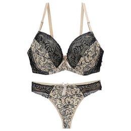 White Plus Size 36 38 40 C Dd E Cup Intimate Lingerie Bra Set Lace Floral Gay Underwear Push Up Bra T Set Secret Women B3 Cheap Sales Bras