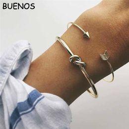 cuff knots wholesale 2019 - 2PCS Vintage Gold Color Tie Knot Bracelet Bangles Simple Twist Cuff Open Bangles For Women Indian Jewelry Costume CE0800