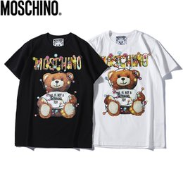 2019 Summer New Moschin O Tee Cotton Short Sleeve Breathable Men Women Moschinos Swing Bear Casual Outdoor Streetwear T-shirts from hyundai car models suppliers