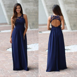 juniors floor length dresses Australia - 2019 Empire Country Navy Blue Lace Top Bridesmaid Dresses Jewel Neck Backless Chiffon Illusion Floor Length Long junior Wedding Guest