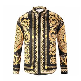Discount polka dot print shirt designs - Wholesale-Famous Slim Fit Shirts Brand design clothes men Baroque galaxy golden dragon flower print long sleeve 3D shirt