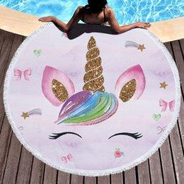 $enCountryForm.capitalKeyWord Australia - Cartoon Unicorn Series Microfiber Beach Towel with Drawstring Backpack Bag Sport Yoga Blanket Swimming Bath Towel