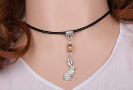 cute jewelry for sale NZ - Hot Sale Clever Cute Rabbit Bunny Leather Necklace Pendant Glass Bead Charms Vintage Silver Choker Collar Statement For Women Jewelry DIY