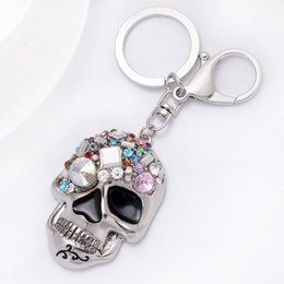 skull car accessories 2021 - Diamond Skull Keychains Metal Fashion Bag Jewelry Accessories Car Pendant Charm Key Chains Ring Holder Keyring for Men Women Girls Boys Gift