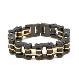 Motorcycle Chain Australia - Fashion Black Gold Motorcycle Chain Bracelets High Quality 316L Stainless Steel Men's Bracelets 16mm Width Jewelry Gift