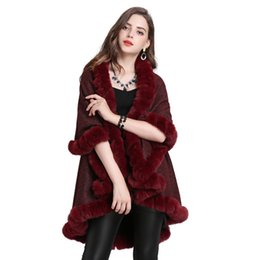 $enCountryForm.capitalKeyWord Australia - New Autumn Winter Women's Outwear Shawl Ponchos Faux Fox Fur Collar Plush Warm Cardigan Knitted Cape Poncho C4985