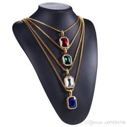 Pendant Designs For Gems Australia - Men Hip Hop Gem Pendant Necklace Charm for Fashion Green Red Blue Black White Crystal Design 18k Gold Plated 75cm Long Chain Jewelry