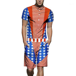 tracksuits men usa 2021 - Printed Cargo Sets Shorts Casual Outfits Mens Summer 19SS Fashion Tracksuits One Piece USA Flag Designer Shirts 3D