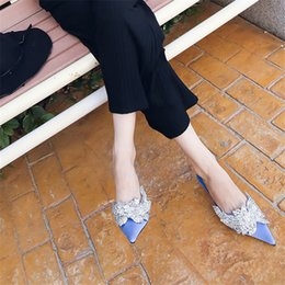 blue crystal decor Australia - Hot Sale-Blue Satin Women Slippers Pointed Toe Crystal Decor 5CM High Heel Shoes Woman Outside Footwear Slides Mules Dress Shoes