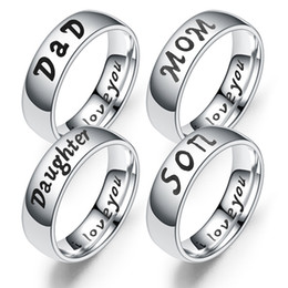 dad daughter jewelry 2019 - MJARTORIA Ring Love Mom Dad Son Daughter Ring For Couple Family Women Titanium steel 2019 New Trendy Rings Jewelry Gifts