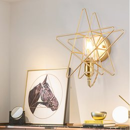 simple iron lamps Canada - Pentagram wall lamp golden bedroom bedside dining hall corridor balcony led American simple Nordic wall lamp