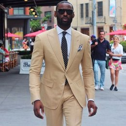 $enCountryForm.capitalKeyWord Australia - 2019 Latest Coat Pant Designs Beige Khaki Linen Groom Men Suit Slim Fit 2 Piece Tuxedo Custom Prom mens Suits Terno Masculino