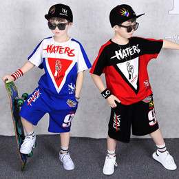 $enCountryForm.capitalKeyWord NZ - Summer Cotton Streetwear Suits Kid Clothes Hip Hop Baby Tops Tee + Pants Boy Set Tracksuit Boys Clothes Children Clothing Sets