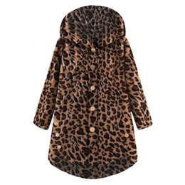 e48d54f12 Autumn Winter Women Wool Coat Elegant Button Leopard Coat Fluffy Tail Tops  Casual Hooded Pullover Loose Jackets Mujer Outerwear
