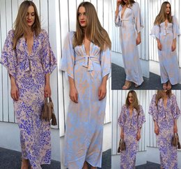 medium length sleeve lace dresses Australia - Women Summer Wrapped Chest Dress Lace-up Sexy Floral Printed Medium Sleeve V-Neck Dresses Fashion Clothing Casual Apparel