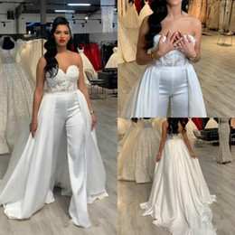 white lace wedding jumpsuit 2021 - 2020 Lace Stain Sleeveless Wedding Jumpsuit Dresses With Removeable Skirt Strapless Bridal Wedding Gowns With Pant Suit Plus Size Dresses