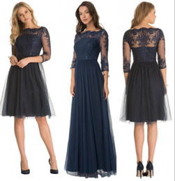 Discount wedding bridesmaid lilac dresses - Plus Size Modest Dark Blue Short Tulle A-Line 3 4 Sleeve Sheer Lace Mother Of The Bride Dresses Knee-Length Wedding Brid