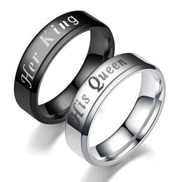 Großhandel Neue Mode DIY Paar Schmuck Ringe Schwarz Farbe 316L Edelstahl SEINE KÖNIGIN und IHR KÖNIG Paar Ringe für Liebhaber Krone Ring