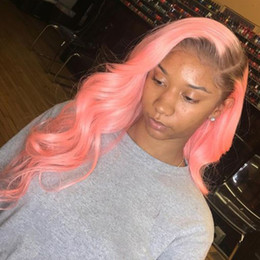 $enCountryForm.capitalKeyWord Australia - Dark Root Pink Lace Front Wig Ombre Virgin Brazilian Glueless Straight Pink Full Lace Human Hair Wigs Pre Plucked With Baby Hair