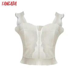 $enCountryForm.capitalKeyWord Australia - Tangada Fashion Women Tops Sexy Sleeveless Tank White Ruffles Strappy Backless Camisole Short Tops Nice Ladies Camis 4c11