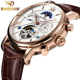 moon phase calendar watch 2020 - Automatic Mechanical Watch Men Moon Phase Top Fashion Casual Business Leather Skeleton Relogio cheap moon phase calendar