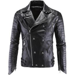 Fiber Slim Australia - 2019 Skeleton Men Top PU Quality Slim Fitness Leather Jacket Man Lapel Famous Brand With zipper Leather Clothes Winter Male Outerwear