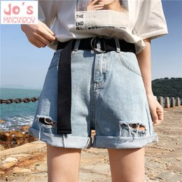 kawaii beads NZ - 2018 New Women Shorts Denim Summer High Waist Shorts Plus Size Hollow Out With Belt Harajuku Kawaii Sashes Casual Street Y19050905