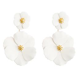 e88cb6358b80 Multicapas Sobre Tamaño Flor Forma Pendiente Joyería Hecha A Mano  Hipoalergénico Elegante Pendiente Para Mujeres Chica Blanco