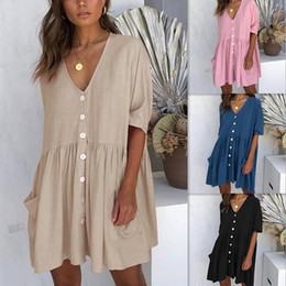 Wholesale V Neck Pocket Button Dress Half Sleeve Solid Casual Loose Mini Dress Women Summer Short Mini Party Dresses LJJO6300