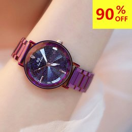 Bright Blue Watches Australia - 's Stainless Steel Watches Women 2018 Relogio Feminino Luxury Bright Starry sky dial Clock Women Fashion Quartz Watches reloj mujer