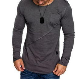 Mens Tight T Shirts Australia - New Autumn High-elastic Cotton T-shirts Mens Long Sleeve O Neck Tight T Shirt Solid Color M-xxxl Casual Muscle Tops Tee