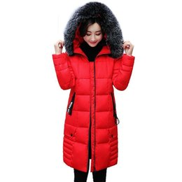 down padded ladies coats UK - Women Brand Winter Down Jackets Big Fur Collar Warm Hooded Coats Ladies Thicken Cotton Padded Parka Casual Slim Long Outerwear