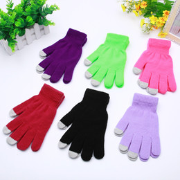 Korean gloves online shopping - Korean style Touch Screen Gloves Magic Gloves Plain Color Knitted Warm Manufacturers Direct Selling