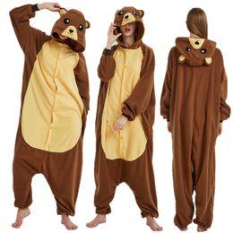 67daf8f8f Adult Polar Fleece Kigurumi Bear Costume Women Men Cosplay Brown Bear Onesie  Pajamas For Halloween Carnival Party Jumpsuit