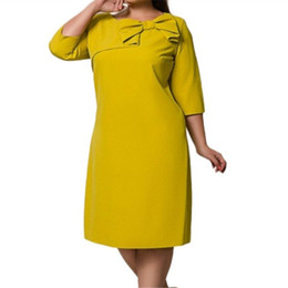 Wholesale 6Xl Plus Size Loose Dress Female Clothing Women Autumn Office Elegant Bow Party Dresses
