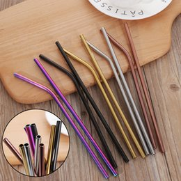 Diy Hot Pack Australia - 4PCS Pack Colorful Stainless Steel Drinking Straws Straight and Bent Reusable Filter With Brush DIY Tea Coffee Tools D19011702