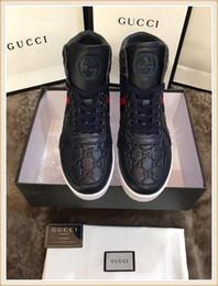 Опт gucci Качество 2019 Марка Мужская модная обувь Luxury Mens best Оригинальный дизайнер совершенного восстановления Повседневная обувь Натуральная обувь Высокая для мужчин