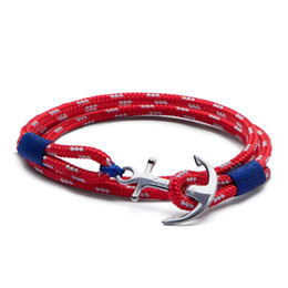 rope bracelets anchor clasp NZ - 4 size Arctic 3 blue thread red rope bracelet stainless steel anchor Tom Hope bracelet with box and tag TH8 KKA6086