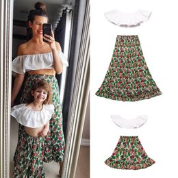 $enCountryForm.capitalKeyWord UK - Ins mommy and daughter matching outfits family matching outfits girls beach suits mommy me matching outfits Tops+skirt kids clothes A5856