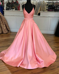 $enCountryForm.capitalKeyWord Australia - Satin Pink Prom Dresses with Pockets Halter Backless A-Line Simple Floor Length Formal Women Dress Evening Gowns bayan gece elbisesi