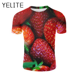 $enCountryForm.capitalKeyWord UK - YELITE Strawberry T Shirt Fresh Fruit T-shirt 3d Printed Tshirt Summer Men Casual Clothes Funny Short Sleeve Fitness Tops Tees