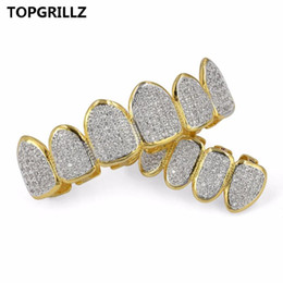 Wholesale golden teeth resale online - Set Golden Color Plated Grillz Exclusive Gold Classic Top Bottom Grills CZ TOPGRILLZ Hop Micro Hip Teeth Pave Jxptg