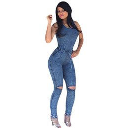 $enCountryForm.capitalKeyWord UK - Casual Overalls Sexy Slim Bodycon ladies denim jumpsuits women ripped denim jumpsuits hot girl sleeveless club wear