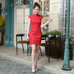 Chinese speCial oCCasion dresses online shopping - Cheap Red Chinese Lace Cheaongsam For Special Occasion Party High Neck Short Sleeve Above Knee Cocktail Prom Gowns Hot Sale Women Skirts