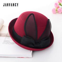 blue bowler hats 2019 - Lady's British style Fedoras with Yarn Rabbit ears Cute Lolita Bow-knot Belt Crimping Bowler Panama Hat Elegant Fas