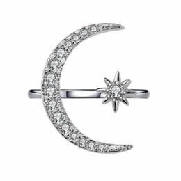 19b85ca1f492 Crystal Moon Ring Diamond Moon Star Anillos Abierto Ajustable Rgins  Diseñador Anillos Joyería de moda para mujeres Will and Sandy Dropship  080444