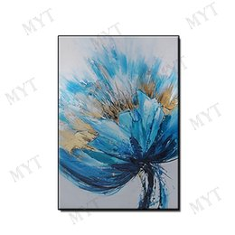 $enCountryForm.capitalKeyWord Australia - Wedding gift Abstract beautiful blue flowers wall art home decor Hand-painted Abstract Oil Painting on canvas for living room no framed