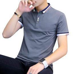 plus size polo shirts for men UK - BROWON 2020 summer casual polo shirt men short sleeve turn down collar slim fit sold color polo shirt for men plus size T200518
